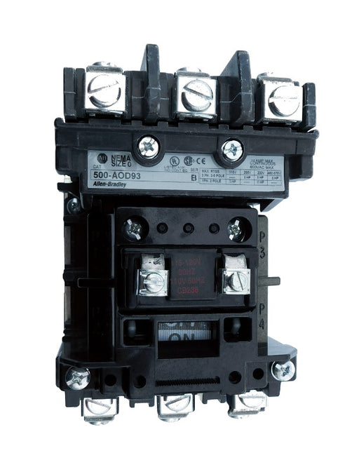 500-AOB930 Magnetic Motor Contactor, NEMA Size 0, 18 Amps, 3 Poles, 440/480V AC Coil, Motor Voltage 575V AC Max, Open Style No Enclosure, Non-Reversing, Max HP Ratings: 3 @ 200VAC, 3 @ 230VAC, 5 @ 415VAC, 5 @ 575VAC, with Normally Open Auxiliary Installed Standard, Line and Load End Terminals Standard. New Surplus and Certified Reconditioned with 1 Year Warranty.