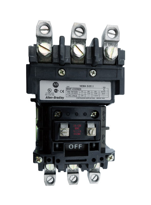 500-COD930 Magnetic Motor Contactor, NEMA Size 2, 45 Amps, 3 Poles, 110/120V AC Coil, Motor Voltage 575V AC Max, Open Style No Enclosure, Non-Reversing, Max HP Ratings: 10 @ 200VAC, 15 @ 230VAC, 25 @ 415VAC, 25 @ 575VAC, with Normally Open Auxiliary Installed Standard, Line and Load End Terminals Standard. New Surplus and Certified Reconditioned with 1 Year Warranty.
