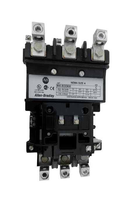 500-EOA930 Magnetic Motor Contactor, NEMA Size 4, 135 Amps, 3 Poles, 220/240V AC Coil, Motor Voltage 575V AC Max, Open Style No Enclosure, Non-Reversing, Max HP Ratings: 40 @ 200VAC, 50 @ 230VAC, 75 @ 415VAC, 100 @ 575VAC, with Normally Open Auxiliary Installed Standard, Line and Load End Terminals Standard. New Surplus and Certified Reconditioned with 1 Year Warranty.