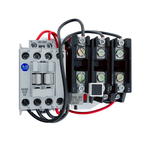 509-TOB Magnetic Motor Starter, NEMA Size 00, 9 Amps, 3 Poles, 440/480V AC Coil, Motor Voltage 575V AC Max, Open Style No Enclosure, Non-Reversing, Max HP Ratings: 1 1/2 @ 200VAC, 1 1/2 @ 230VAC, 2 @ 415VAC, 2 @ 575VAC, Line and Load End Terminals Standard. New Surplus and Certified Reconditioned with 1 Year Warranty.