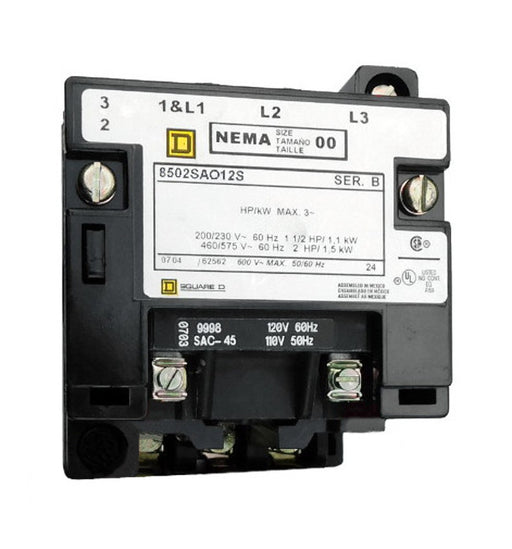 8502-SAO12-V02S Magnetic Motor Contactor, Nema Size 00, 9 Amps, 3 Poles, 120VAC Coil, Full Voltage 600VAC, Open Style No Enclosure, Across the Line Starting and Stopping, Single Speed, Non-Reversing, Max HP Ratings (3 Phase): 1 1/2 @ 200VAC, 1 1/2 @ 230VAC, 2 @ 460VAC, 2 @ 575VAC. New Surplus and Certified Reconditioned with 1 Year Warranty.