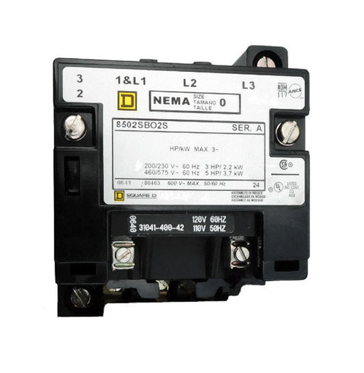 8502-SBO2-V02S Magnetic Motor Contactor, Nema Size 0, 18 Amps, 3 Poles, 120VAC Coil, Full Voltage 600VAC, Open Style No Enclosure, Across the Line Starting and Stopping, Single Speed, Non-Reversing, Max HP Ratings (3 Phase): 3 @ 200VAC, 3 @ 230VAC, 5 @ 460VAC, 5 @ 575VAC. New Surplus and Certified Reconditioned with 1 Year Warranty.