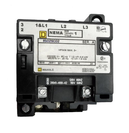 8502-SCO2-V02S Magnetic Motor Contactor, Nema Size 1, 27 Amps, 3 Poles, 120VAC Coil, Full Voltage 600VAC, Open Style No Enclosure, Across the Line Starting and Stopping, Single Speed, Non-Reversing, Max HP Ratings (3 Phase): 7 1/2 @ 200VAC, 7 1/2 @ 230VAC, 10 @ 460VAC, 10 @ 575VAC. New Surplus and Certified Reconditioned with 1 Year Warranty.