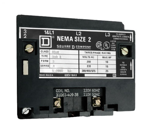 8502-SDO2-V03S Magnetic Motor Contactor, Nema Size 2, 45 Amps, 3 Poles, 240VAC Coil, Full Voltage 600VAC, Open Style No Enclosure, Across the Line Starting and Stopping, Single Speed, Non-Reversing, Max HP Ratings (3 Phase): 10 @ 200VAC, 15 @ 230VAC, 25 @ 460VAC, 25 @ 575VAC. New Surplus and Certified Reconditioned with 1 Year Warranty.
