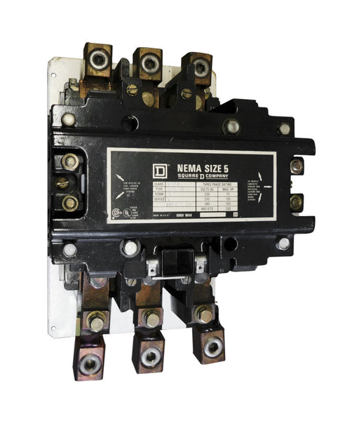 8502-SGO2-V02S Magnetic Motor Contactor, Nema Size 5, 270 Amps, 3 Poles, 120VAC Coil, Full Voltage 600VAC, Open Style No Enclosure, Across the Line Starting and Stopping, Single Speed, Non-Reversing, Max HP Ratings (3 Phase): 75 @ 200VAC, 100 @ 230VAC, 200 @ 460VAC, 200 @ 575VAC. New Surplus and Certified Reconditioned with 1 Year Warranty.
