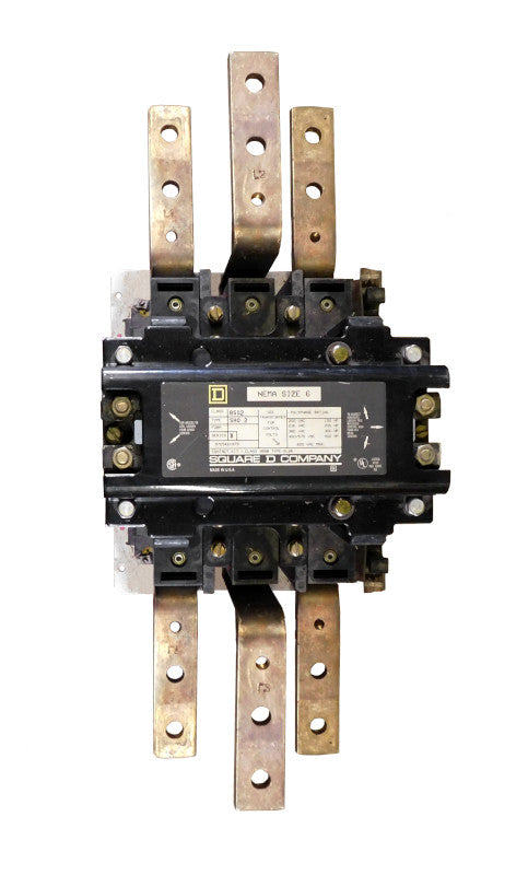 8502-SHO2-V06S Magnetic Motor Contactor, Nema Size 6, 540 Amps, 3 Poles, 480VAC Coil, Full Voltage 600VAC, Open Style No Enclosure, Across the Line Starting and Stopping, Single Speed, Non-Reversing, Max HP Ratings (3 Phase): 150 @ 200VAC, 200 @ 230VAC, 400 @ 460VAC, 400 @ 575VAC. New Surplus and Certified Reconditioned with 1 Year Warranty.