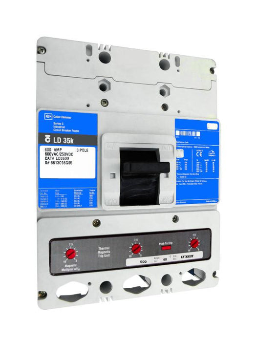 LDB3600 LDB Frame Style, Molded Case Circuit Breaker, Thermal Magnetic Non-Interchangeable Trip Unit, Suitable for Reverse Feed, 600 Ampere at 40 Degree Celsius, 3 Pole, 600VAC @ 50/60HZ. New Surplus and Certified Reconditioned with 1 Year Warranty.