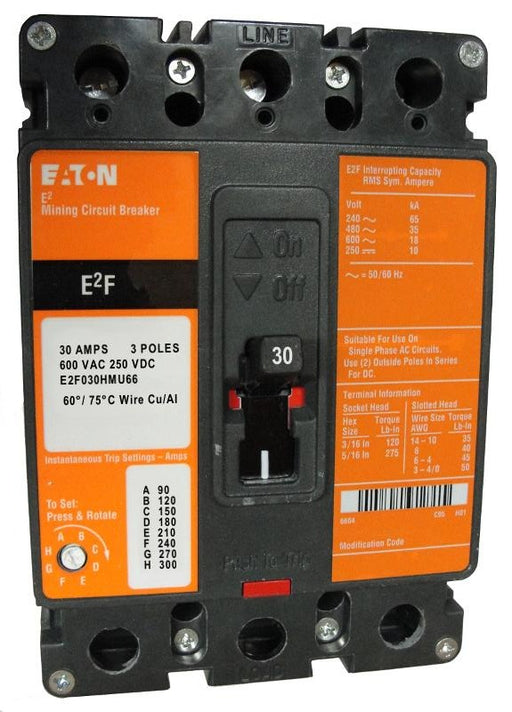 E2F030HMU66 E2F Frame Style, Molded Case Mining Circuit Breaker, Non-Interchangeable Magnetic Only Trip Unit, 30 Ampere at 40 Degree Celsius, 3 Pole, 600VAC @ 50/60HZ, Line and Load End Terminals Standard, U66 Option Includes: [120 VAC UVR Installed, With LED, Left Pole Mounted, Exiting Rear]. 1 Year Warranty.
