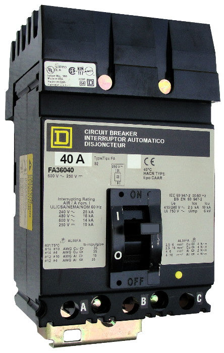 FA36040 FA (I-Line) Frame Style, Molded Case Circuit Breaker, Thermal Magnetic Non-interchangeable Trip Unit, 40 Ampere at 40 Degree Celsius, 3 Pole, Load End Terminals Standard. New Surplus and Certified Reconditioned with 1 Year Warranty.