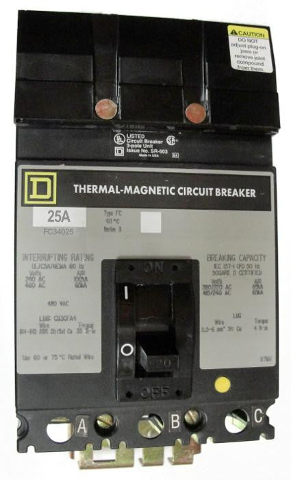 FC34025 FC (I-Line) Frame Style, Molded Case Circuit Breaker, Thermal Magnetic Non-interchangeable Trip Unit, 25 Ampere at 40 Degree Celsius, 3 Pole, Interrupting Ratings: 100 Kiloampere @ 240 VAC, 65 Kiloampere @ 480 VAC, Load End Terminals Standard. New Surplus and Certified Reconditioned with 1 Year Warranty.