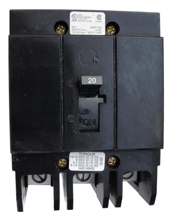 GHB3020 G Frame Style, Molded Case Circuit Breaker, Thermal Magnetic Non-interchangeable Trip Unit, 20 Ampere at 40 Degree Celsius, 3 Pole, 240 VAC, 480Y/277 VAC, 125/250 VDC, Load End Terminals Standard. New Surplus and Certified Reconditioned with 1 Year Warranty.