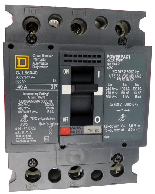 GJL36040 GJL Frame Style, PowerPact, Molded Case Circuit Breaker, Thermal Magnetic Non-interchangeable Trip Unit, 40 Ampere at 40 Degree Celsius, 3 Pole, Line and Load End Terminals Standard. New Surplus and Certified Reconditioned with 1 Year Warranty.