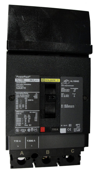 HJA36110 HJA Frame Style, PowerPact, Molded Case Circuit Breaker, Thermal Magnetic Non-interchangeable Trip Unit, 110 Ampere at 40 Degree Celsius, 3 Pole, Load End Terminals Standard. New Surplus and Certified Reconditioned with 1 Year Warranty.