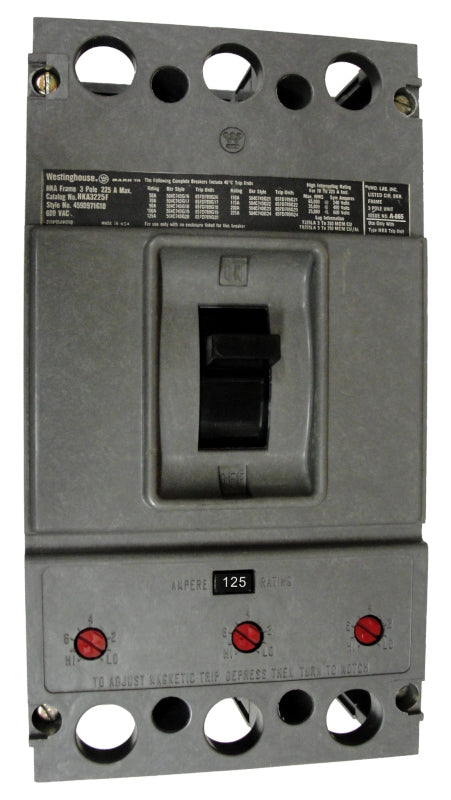 HKA3125 HKA Frame Style, Molded Case Circuit Breaker, Thermal Magnetic Non-Interchangeable Trip Unit, 125 Ampere at 40 Degree Celsius, 3 Pole, 600VAC @ 50/60HZ, Without Terminals. New Surplus and Certified Reconditioned with 1 Year Warranty.