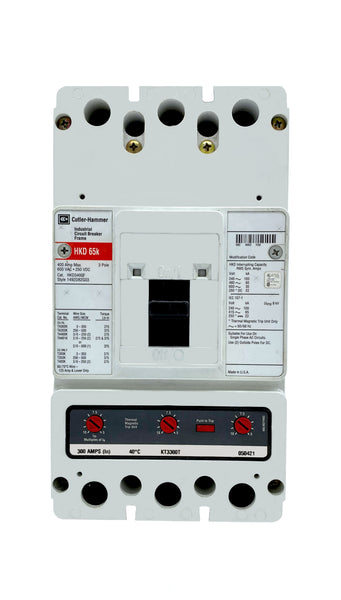 HKD3300 HKD Frame Style, Molded Case Circuit Breaker, High Interrupting Capacity, Thermal Magnetic Interchangeable Trip Unit, 300 Ampere at 40 Degree Celsius, 3 Pole, 600VAC @ 50/60HZ. New Surplus and Certified Reconditioned with 1 Year Warranty.