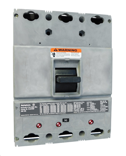 HLA3090 (400 Amp Max Frame) HLA Frame Style, 400 Amp Max Frame, Molded Case Circuit Breaker, Mark 75, Thermal Magnetic Interchangeable Trip Unit, 90 Ampere at 40 Degree Celsius, 3 Pole, 600VAC @ 50/60HZ, High Interrupting Style, Without Terminals. New Surplus and Certified Reconditioned with 1 Year Warranty.