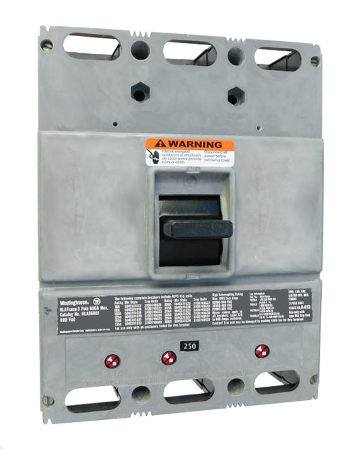 HLA3250 (600 Amp Max Frame) HLA Frame Style, 600 Amp Max Frame, Molded Case Circuit Breaker, Mark 75, Thermal Magnetic Interchangeable Trip Unit, 250 Ampere at 40 Degree Celsius, 3 Pole, 600VAC @ 50/60HZ, High Interrupting Style, Without Terminals. New Surplus and Certified Reconditioned with 1 Year Warranty.