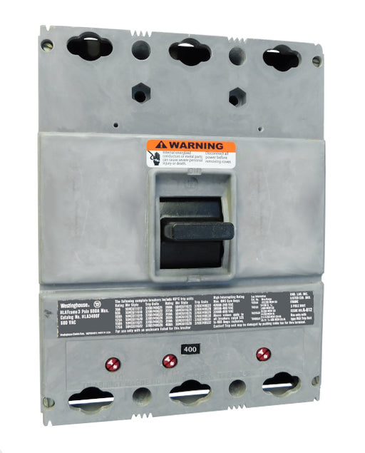 HLA3400 (400 Amp Max Frame) HLA Frame Style, 400 Amp Max Frame, Molded Case Circuit Breaker, Mark 75, Thermal Magnetic Interchangeable Trip Unit, 400 Ampere at 40 Degree Celsius, 3 Pole, 600VAC @ 50/60HZ, High Interrupting Style, Without Terminals. New Surplus and Certified Reconditioned with 1 Year Warranty.