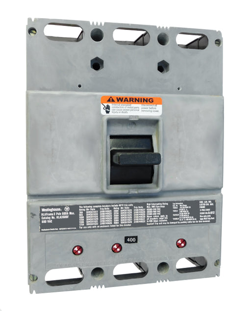 HLA3400 (600 Amp Max Frame) HLA Frame Style, 600 Amp Max Frame, Molded Case Circuit Breaker, Mark 75, Thermal Magnetic Interchangeable Trip Unit, 400 Ampere at 40 Degree Celsius, 3 Pole, 600VAC @ 50/60HZ, High Interrupting Style, Without Terminals. New Surplus and Certified Reconditioned with 1 Year Warranty.