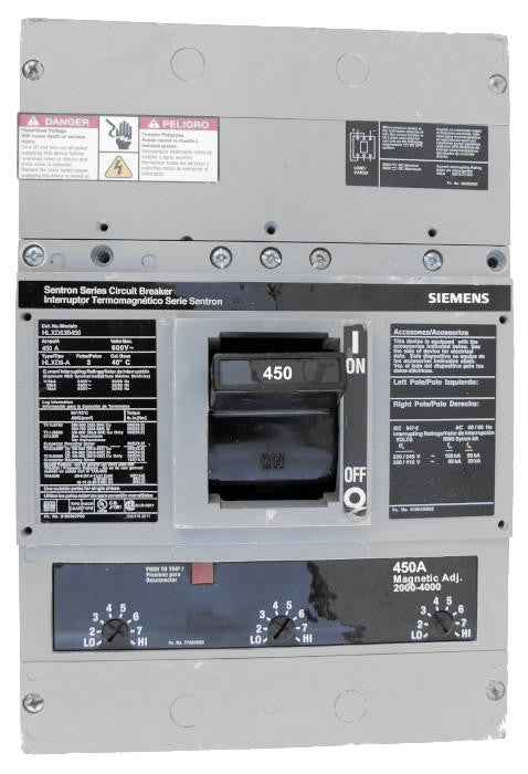 HLXD63B450 HLD Frame Style, Molded Case Circuit Breaker, High Interrupting Capacity, Thermal Magnetic Non-Interchangeable Trip Unit, 450 Ampere at 40 Degree Celsius, 3 Pole, 240V AC, 480V AC, and 600V AC @ 50/60 HZ. New Surplus and Certified Reconditioned with 1 Year Warranty.
