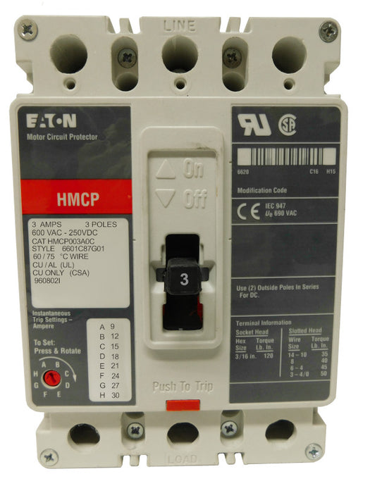 HMCP003A0C Motor Circuit Protector (MCP), F Frame Style, Molded Case Circuit Breaker, Magnetic Non-interchangeable Trip Unit, Instantaneous-only, 3 Amperes, 3 Pole, 9-30 Trip Setting, Non-aluminum Terminals Standard, 600VAC, 250VDC Maximum. New Surplus and Certified Reconditioned with 1 Year Warranty.