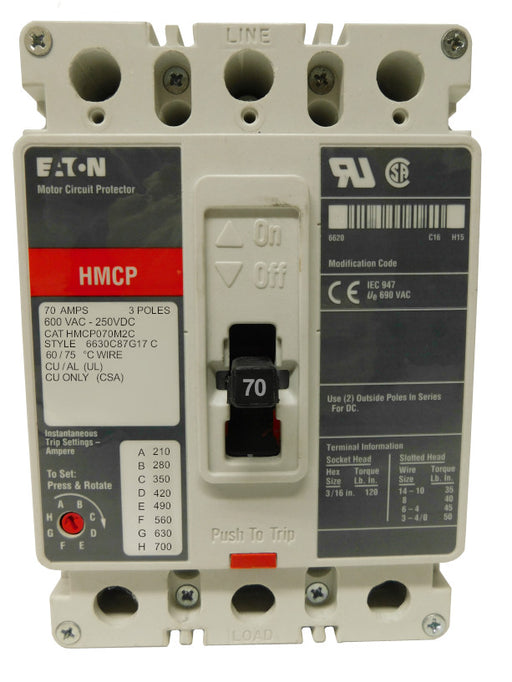 HMCP070M2C Motor Circuit Protector (MCP),F Frame Style, Molded Case Circuit Breaker, Magnetic Non-interchangeable Trip Unit, Instantaneous-only, 70 Amperes, 3 Pole, 210-700 Trip Setting, Non-aluminum Terminals Standard, 600VAC, 250VDC Maximum. New Surplus and Certified Reconditioned with 1 Year Warranty.