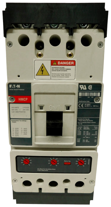 HMCP400Y5C Motor Circuit Protector (MCP),K Frame Style, Molded Case Circuit Breaker, Magnetic Non-interchangeable Trip Unit, Instantaneous-only, 400 Amperes, 3 Pole, 2250-4500 Trip Setting, Copper Terminals Standard, 600VAC, 250VDC Maximum. New Surplus and Certified Reconditioned with 1 Year Warranty.