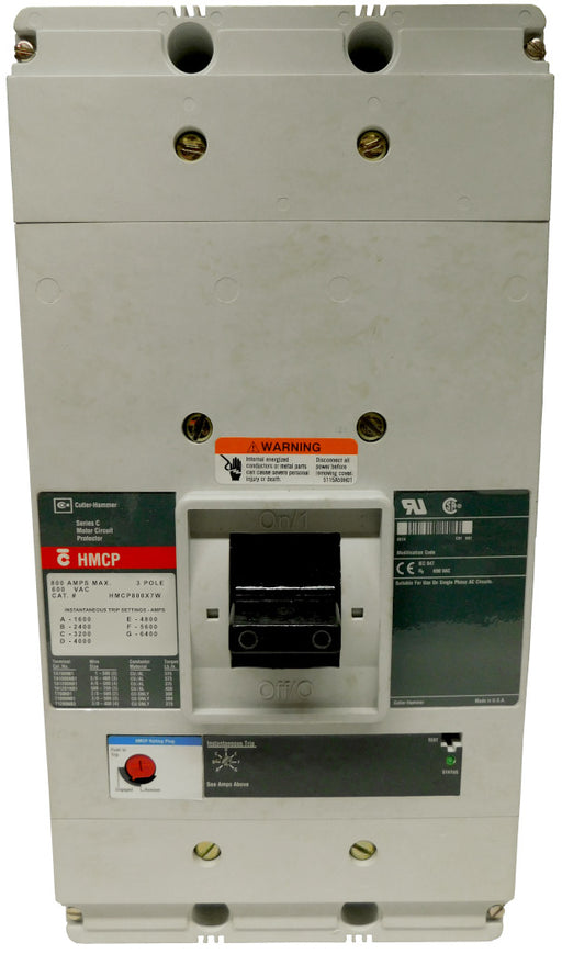 HMCP800X7W Motor Circuit Protector (MCP),N Frame Style, Molded Case Circuit Breaker, Magnetic Non-interchangeable Trip Unit, Instantaneous-only, 800 Amperes, 3 Pole, 1600-6400 Trip Setting, Without Terminals Standard, 600VAC. New Surplus and Certified Reconditioned with 1 Year Warranty.