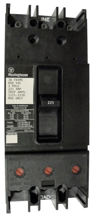 JB3225 JB Frame Style, Molded Case Circuit Breaker, Thermal Magnetic Non-Interchangeable Trip Unit, 225 Ampere at 40 Degree Celsius, 3 Pole, 600VAC @ 50/60HZ. New Surplus and Certified Reconditioned with 1 Year Warranty.