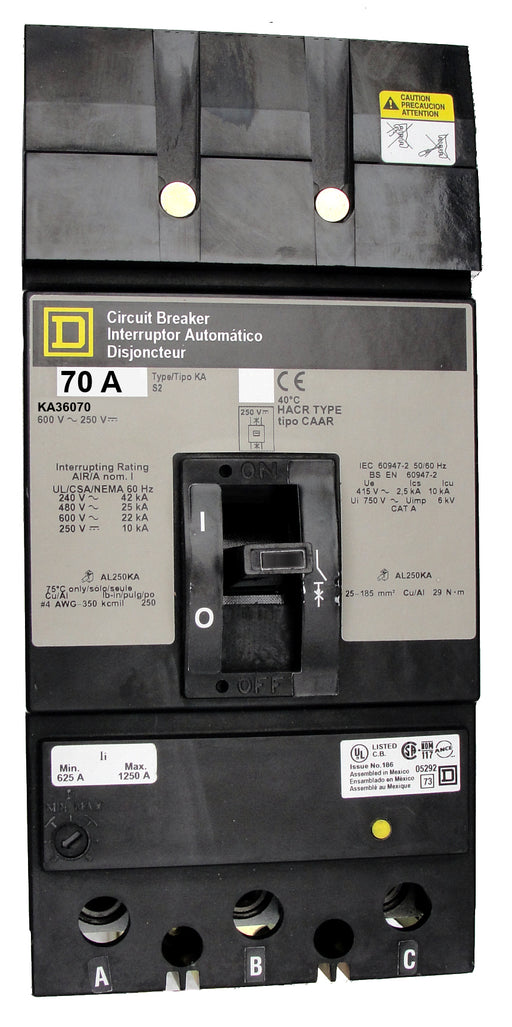 KA36070 KA (I-Line) Frame Style, Molded Case Circuit Breaker, Thermal Magnetic Non-interchangeable Trip Unit, 70 Ampere at 40 Degree Celsius, 3 Pole, Load End Terminals Standard. New Surplus and Certified Reconditioned with 1 Year Warranty.