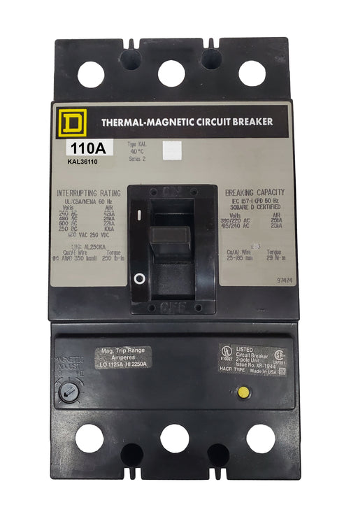 KAL36110 KAL Frame Style, Molded Case Circuit Breaker, Thermal Magnetic Non-interchangeable Trip Unit, 110 Ampere at 40 Degree Celsius, 3 Pole, Line and Load End Terminals Standard. New Surplus and Certified Reconditioned with 1 Year Warranty.