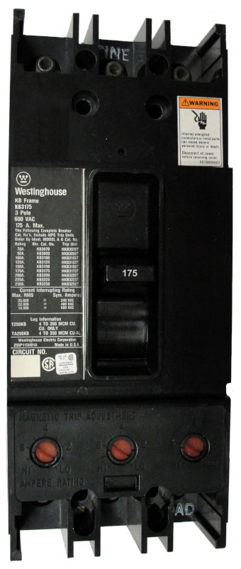 KB3175 KB Frame Style, Molded Case Circuit Breaker, Thermal Magnetic Non-Interchangeable Trip Unit, 175 Ampere at 40 Degree Celsius, 3 Pole, 600VAC @ 50/60HZ, Interrupting Ratings: 25 Kiloampere @ 240VAC, 22 Kiloampere @ 480VAC, 14 Kiloampere @ 600VAC. New Surplus and Certified Reconditioned with 1 Year Warranty.