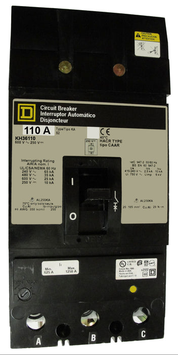 KH36110 KH (I-Line) Frame Style, Molded Case Circuit Breaker, Thermal Magnetic Non-interchangeable Trip Unit, 110 Ampere at 40 Degree Celsius, 3 Pole, Load End Terminals Standard. New Surplus and Certified Reconditioned with 1 Year Warranty.
