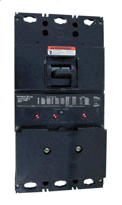 LA3070PR LA Frame Style, Tri-Pac, Molded-Case Circuit Breaker, Long Delay and Magnetic Non-Interchangeable Trip Unit, 70 Ampere at 40 Degree Celsius, 3 Pole, 600VAC @ 50/60HZ, Rear Connected, With Current Limiters 200LAP08 Installed, Without Terminals. New Surplus and Certified Reconditioned with 1 Year Warranty.