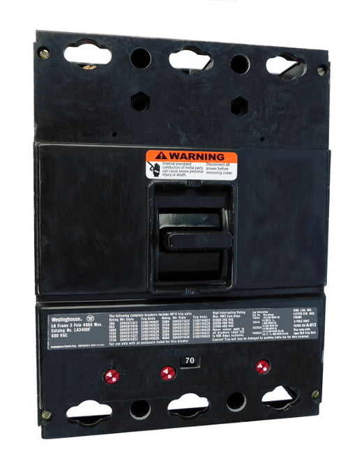 LA Frame Style, 400 Amp Max Frame, Molded Case Circuit Breaker, Thermal Magnetic Interchangeable Trip Unit, 70 Ampere at 40 Degree Celsius, 3 Pole, 600VAC @ 50/60HZ, Interrupting Ratings: 50 Kiloampere @ 240VAC, 35 Kiloampere @ 480VAC, 25 Kiloampere @ 600VAC, Without Terminals