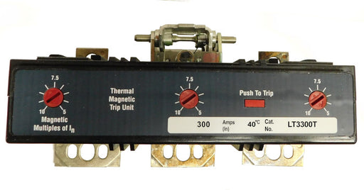 LT3300T Trip Unit, L Frame Style, Thermal-Magnetic, 300 Ampere at 40 Degree Celsius, 3Pole, 600VAC, Magnetic Trip Adjustment at 5-10 Times Continuous Ampere Rating, For Use in Molded Case Circuit Breakers With Optional Interchangeable Trip Units. New Surplus and Certified Reconditioned with 1 Year Warranty.