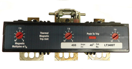 LT3400T Trip Unit, L Frame Style, Thermal-Magnetic, 400 Ampere at 40 Degree Celsius, 3Pole, 600VAC, Magnetic Trip Adjustment at 5-10 Times Continuous Ampere Rating, For Use in Molded Case Circuit Breakers With Optional Interchangeable Trip Units. New Surplus and Certified Reconditioned with 1 Year Warranty.