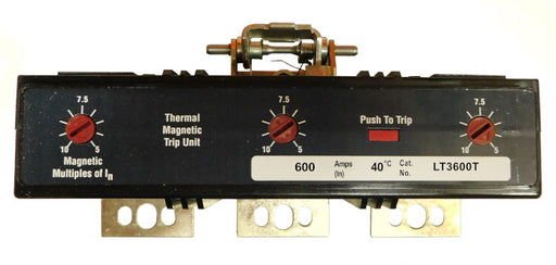 LT3600T Trip Unit, L Frame Style, Thermal-Magnetic, 600 Ampere at 40 Degree Celsius, 3Pole, 600VAC, Magnetic Trip Adjustment at 5-10 Times Continuous Ampere Rating, For Use in Molded Case Circuit Breakers With Optional Interchangeable Trip Units. New Surplus and Certified Reconditioned with 1 Year Warranty.