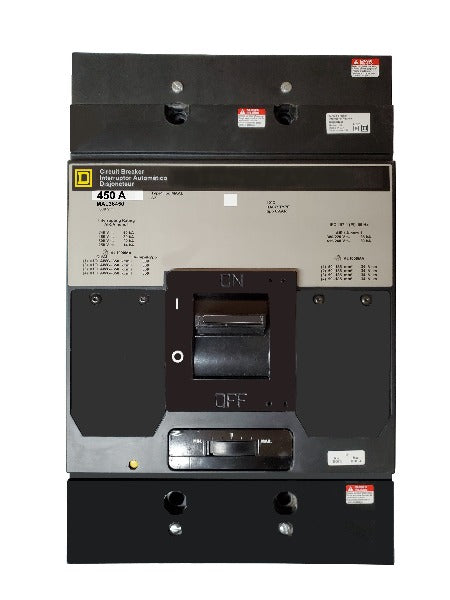 MAL36450 MAL Frame Style, Molded Case Circuit Breaker, Thermal Magnetic Non-interchangeable Trip Unit, 450 Ampere at 40 Degree Celsius, 3 Pole, Line and Load End Terminals Standard. New Surplus and Certified Reconditioned with 1 Year Warranty.