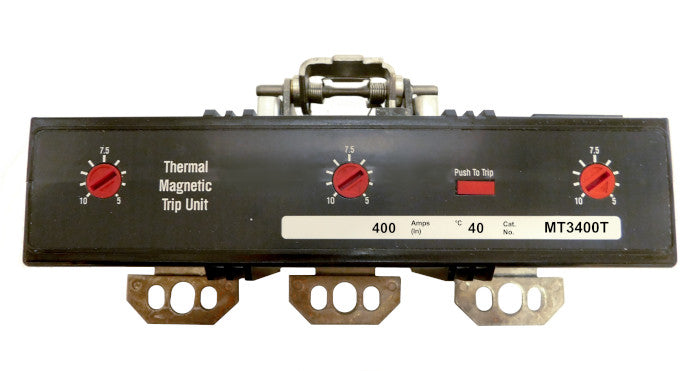 MT3400T Trip Unit, M Frame Style, Thermal-Magnetic, 400 Ampere at 40 Degree Celsius, 3 Pole, Magnetic Trip Adjustment at 5-10 Times Continuous Ampere Rating, For Use in Molded Case Circuit Breakers With Optional Interchangeable Trip Units. New Surplus and Certified Reconditioned with 1 Year Warranty.