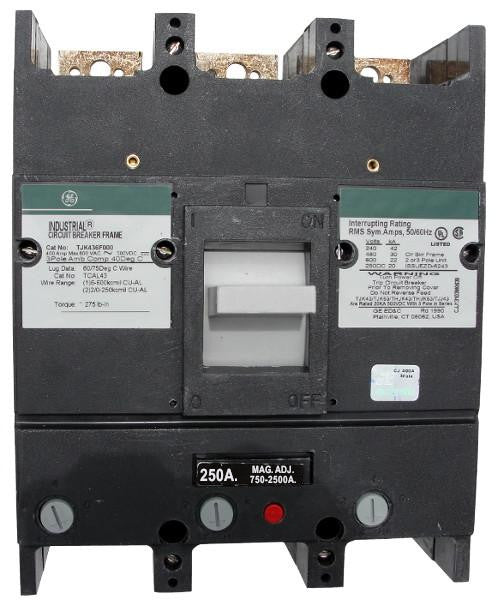 TJK436250 / TJK436250WL TJK Frame Style, Molded Case Circuit Breaker, Thermal Magnetic Interchangeable Trip Unit, 250 Ampere at 40 Degree Celsius, 3 Pole, 600VAC @ 50/60HZ, Line and Load End Terminals Standard. New Surplus and Certified Reconditioned with 1 Year Warranty.