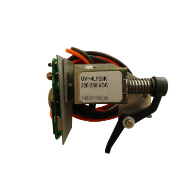 UVH4LP28K Undervoltage Release Mechanism (UVR), L and M-Frame Style, Field Mounted, Pigtail Lead Connection, Left Pole Mounting on Molded Case Circuit Breakers, 220-250V DC @ 50/60HZ. New Surplus and Certified Reconditioned with 1 Year Warranty.