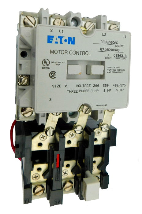 A200M0CAC Magnetic Motor Starter, Nema Size 0, 18 Amps, 3 Poles, 120VAC Coil, Full Voltage 600VAC, Type B Overload Relay Standard, Open Style No Enclosure, Across the Line Starting and Stopping, Single Speed, Non-Reversing, Max HP Ratings: 1 @ 115V/1 Phase, 3 @ 208V/3 Phase, 3 @ 240V/3 Phase, 5 @ 480V/3 Phase, 5 @ 600V/3 Phase. New Surplus and Certified Reconditioned with 1 Year Warranty.