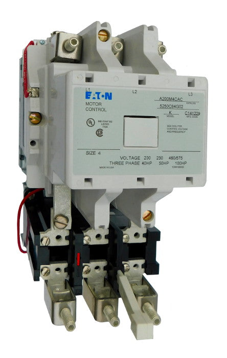 A200M4CAC (Model K) Magnetic Motor Starter, Model K, Nema Size 4, 135 Amps, 3 Poles, 120VAC Coil, Full Voltage 600VAC, Type B Overload Relay Standard, Open Style No Enclosure, Across the Line Starting and Stopping, Single Speed, Non-Reversing, Max HP Ratings: 40 @ 208V/3 Phase, 50 @ 240V/3 Phase, 100 @ 480V/3 Phase, 100 @ 600V/3 Phase. New Surplus and Certified Reconditioned with 1 Year Warranty.