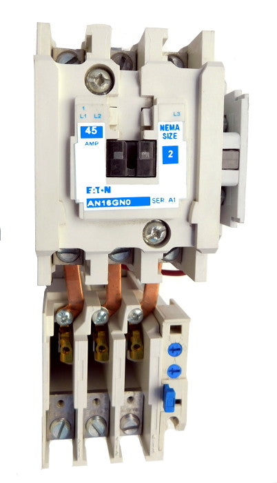 AN16GN0A Magnetic Motor Starter, Nema Size 2, 45 Amps, 3 Poles, 120VAC Coil, Full Voltage 600VAC, Type A Overload Relay Standard, Open Style No Enclosure, Across the Line Starting and Stopping, Single Speed, Non-Reversing, Max HP Ratings (3 Phase): 10 @ 208VAC, 15 @ 240VAC, 25 @ 480VAC, 25 @ 600VAC. New Surplus and Certified Reconditioned with 1 Year Warranty.