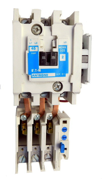 AN16GN0AB Magnetic Motor Starter, Nema Size 2, 45 Amps, 3 Poles, 120VAC Coil, Full Voltage 600VAC, Type B Overload Relay Standard, Open Style No Enclosure, Across the Line Starting and Stopping, Single Speed, Non-Reversing, Max HP Ratings (3 Phase): 10 @ 208VAC, 15 @ 240VAC, 25 @ 480VAC, 25 @ 600VAC. New Surplus and Certified Reconditioned with 1 Year Warranty.