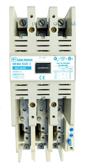 AN16KN0A Magnetic Motor Starter, Nema Size 3, 90 Amps, 3 Poles, 120VAC Coil, Full Voltage 600VAC, Type A Overload Relay Standard, Open Style No Enclosure, Across the Line Starting and Stopping, Single Speed, Non-Reversing, Max HP Ratings (3 Phase): 25 @ 208VAC, 30 @ 240VAC, 50 @ 480VAC, 50 @ 600VAC. New Surplus and Certified Reconditioned with 1 Year Warranty.