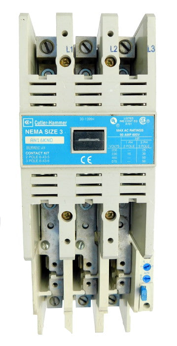 AN16KN0AB Magnetic Motor Starter, Nema Size 3, 90 Amps, 3 Poles, 120VAC Coil, Full Voltage 600VAC, Type B Overload Relay Standard, Open Style No Enclosure, Across the Line Starting and Stopping, Single Speed, Non-Reversing, Max HP Ratings (3 Phase): 25 @ 208VAC, 30 @ 240VAC, 50 @ 480VAC, 50 @ 600VAC. New Surplus and Certified Reconditioned with 1 Year Warranty.