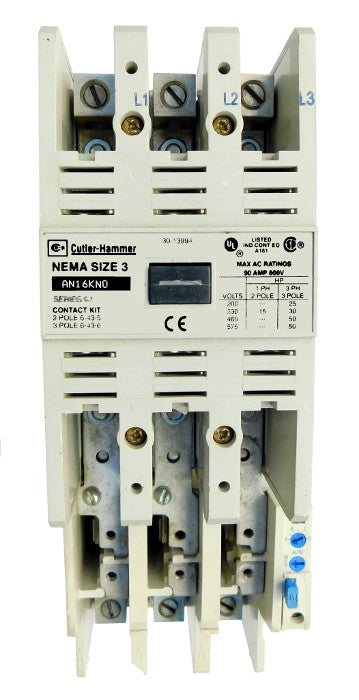 AN16KN0AC Magnetic Motor Starter, Nema Size 3, 90 Amps, 3 Poles, 120VAC Coil, Full Voltage 600VAC, Type C Overload Relay Standard, Open Style No Enclosure, Across the Line Starting and Stopping, Single Speed, Non-Reversing, Max HP Ratings (3 Phase): 25 @ 208VAC, 30 @ 240VAC, 50 @ 480VAC, 50 @ 600VAC. New Surplus and Certified Reconditioned with 1 Year Warranty.