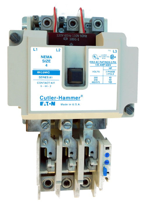 AN16NN0A Magnetic Motor Starter, Nema Size 4, 135 Amps, 3 Poles, 120VAC Coil, Full Voltage 600VAC, Type A Overload Relay Standard, Open Style No Enclosure, Across the Line Starting and Stopping, Single Speed, Non-Reversing, Max HP Ratings (3 Phase): 40 @ 208VAC, 50 @ 240VAC, 100 @ 480VAC, 100 @ 600VAC. New Surplus and Certified Reconditioned with 1 Year Warranty.